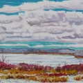 brucethompson-n11040-clouds-of-early-spring-on-devon-lake-30x50
